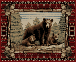 "Dean Lodge King Grizzly Gap Rustic Western Lodge Bear Cabin Ranch Area Rug Size: 5'3"" x 7'3"""