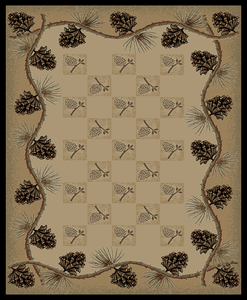 "Dean Lodge King Pine Bluff Pine Cone Rustic Southwestern Lodge Cabin Ranch Area Rug Size: 5'3"" x 7'3"""