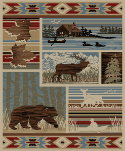 "Dean Maple Valley Rustic Western Lodge Bear Moose Nature Cabin Area Rug Size: 5'3"" x 7'3"""