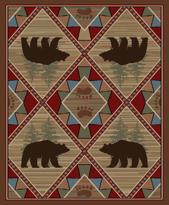 "Dean Echo River Lodge Cabin Bear Rustic Mountain Outdoors Area Rug Size: 7'10"" x 9'10"" (8x10)"