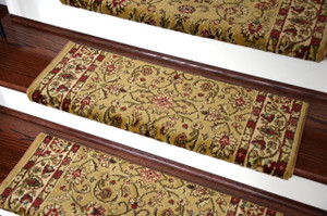"Dean Non-Slip Tape Free Pet Friendly Stair Gripper Bullnose Carpet Stair Treads - Classic Keshan Gold 31""W (3)"