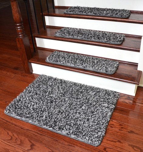 non skid stair tread rugs dean metal gray shag premium gripper tape free slip pet friendly carpet runner plus matching landing treads for hardwood tr