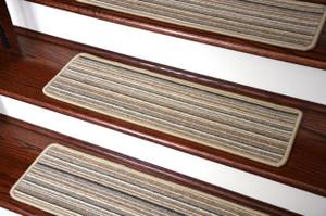 Dean Tape Free Pet Friendly Premium Wool Non-Slip Stair Gripper Carpet Stair Treads - Shetland Stripe Brown (Set of 15) 23 Inches by 8 Inches Each