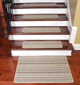 Dean Tape Free Pet Friendly Premium Wool Non-Slip Stair Gripper Carpet Stair Treads - Shetland Stripe Brown (Set of 15) 23 Inches by 8 Inches Each Plus a Matching 2' x 3' Landing Mat