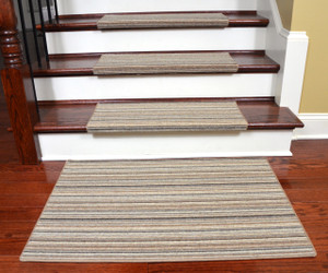 Dean Premium Pet Friendly Tape and Adhesive Free Non-Slip Bullnose Wool Carpet Stair Treads - Shetland Stripe Brown (15) Plus a Matching 2' x 3' Landing Mat