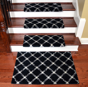 Dean Premium Pet Friendly Tape and Adhesive Free Non-Slip Bullnose Nylon Carpet Stair Treads - Brushed Lattice Onyx (15) Plus a Matching 2' x 3' Landing Mat