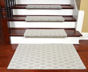Dean Premium Pet Friendly Tape and Adhesive Free Non-Slip Bullnose Wool Carpet Stair Treads - Honeycomb (15) Plus a Matching 2' x 3' Landing Mat