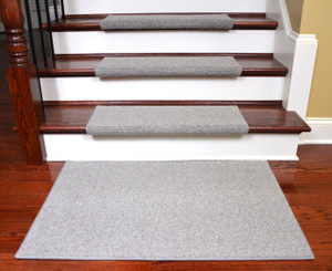 Dean Premium Pet Friendly Tape and Adhesive Free Non-Slip Bullnose Wool Carpet Stair Treads - Dakota Slate (15) Plus a Matching 2' x 3' Landing Mat