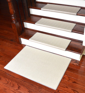 Dean Premium Pet Friendly Tape and Adhesive Free Non-Slip Bullnose Carpet Stair Treads - Hatteras Flatweave Chevron Seashell (15) Plus a Matching 2' x 3' Landing Mat