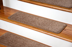 "Dean Non-Slip Tape Free Pet Friendly Premium Stair Gripper Serged DIY 27"" x 9"" Imperial Carpet Stair Treads - Color: Cafe (15)"