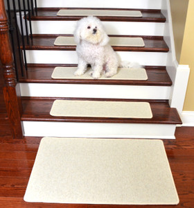 Dean Tape Free Pet Friendly Premium Wool Non-Slip Stair Gripper Carpet Stair Treads - Shetland Ivory (Set of 15) 23 Inches by 8 Inches Each Plus a Matching 2 foot by 3 foot Landing Mat
