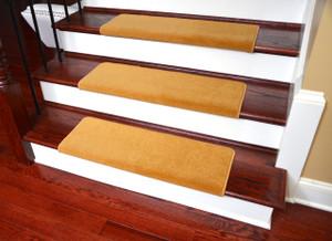 "Dean Modern DIY Peel and Stick Bullnose Wraparound Non-Skid Nylon Carpet Stair Treads - Gold Coast 30""W (15)"