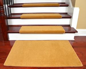 "Dean Modern DIY Peel and Stick Bullnose Wraparound Non-Skid Nylon Carpet Stair Treads - Gold Coast 30""W (15) Plus a Matching Landing Mat"