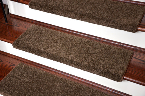 dean premium pet friendly tape and adhesive free nonslip bullnose nylon carpet stair treads satin soft chocolate 3