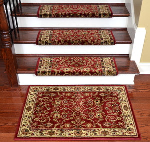 "Dean Non-Slip Tape Free Pet Friendly Stair Gripper Bullnose Carpet Stair Treads - Classic Keshan Claret Red 31""W (15) Plus a Matching 27"" x 39"" Landing Mat (1)"