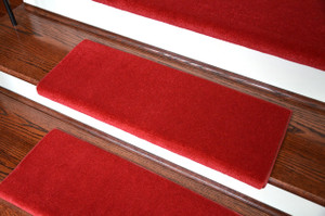 Dean Premium Pet Friendly Tape and Adhesive Free Non-Slip Bullnose Nylon Carpet Stair Treads - Cathedral Red (Set of 3)