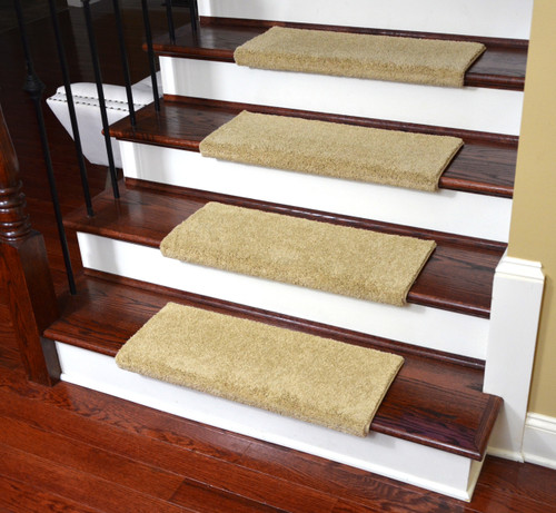 Dean Premium Pet Friendly Tape And Adhesive Free Non Slip Bullnose Nylon Carpet  Stair Treads   Satin Soft Twilight Beige (3)