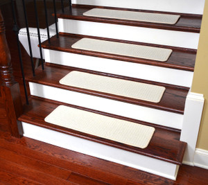 Dean Tape Free Pet Friendly Premium Wool Non-Slip Stair Gripper Carpet Stair Treads - Bayside Cream (Set of 15) 23 Inches by 8 Inches Each