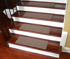 "Dean Non-Slip Tape Free Pet Friendly DIY Carpet Stair Treads/Rugs 27"" x 9"" (15) - Color: Titan Earth"