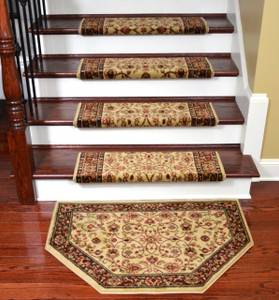 "Dean Non-Slip Tape Free Pet Friendly Stair Gripper Bullnose Carpet Stair Treads - Classic Keshan Ivory Mocha 31""W (15) Plus a Matching 27"" x 39"" Landing Hearth Mat (1)"