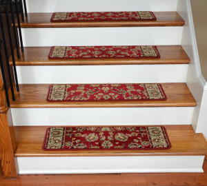 "Dean Non-Slip Pet Friendly Premium Carpet Stair Treads - Elegant Keshan Claret 31"" x 9"" (Set of 15)"