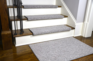 Dean Premium Pet Friendly Tape and Adhesive Free Non-Slip Bullnose Carpet Stair Treads - Dakota Fossil Gray (15) Plus a Matching 2' x 3' Landing Mat