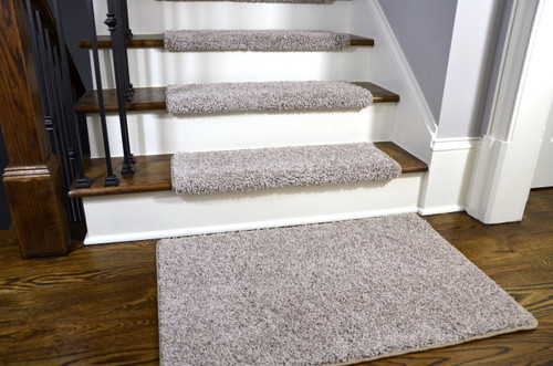 Dean Modern DIY Peel And Stick Bullnose Wraparound Non Skid Carpet Stair  Treads   Macadamia Beige 30 Inches Wide (15) Plus A Matching 2 Foot By 3  Foot ...