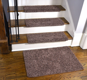 Dean Modern DIY Peel and Stick Bullnose Wraparound Non-Skid Carpet Stair Treads - Fresh Coffee Brown 30 Inches Wide(15) Plus a Matching 2 Foot by 3 Foot Landing Mat