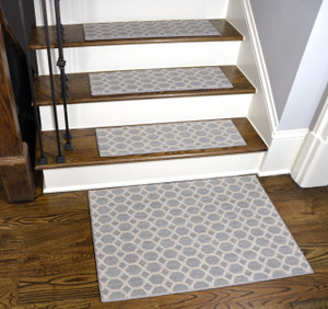 Dean Tape Free Pet Friendly Premium Stainmaster Nylon Non-Slip Stair Gripper Carpet Stair Treads - Silverado Gray (Set of 15) 27 Inches by 9 Inches Each Plus a Matching 2' x 3' Landing Mat