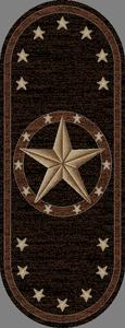 "Dean Western Star Lodge Cabin Carpet Runner Rug 26"" x 63"" Oval"