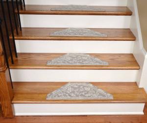 Washable Non-Skid Carpet Stair Treads - Beige Floral Hexagon (13)