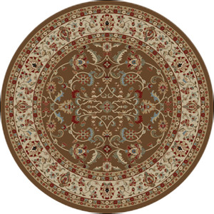 "Dean Classic Keshan Chocolate Brown Oriental Area Rug 7'10"" Round (8')"