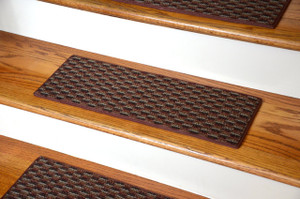 "Dean Indoor/Outdoor Pet Friendly Tape Free Non-Slip Carpet Stair Step Treads - Tybee Island Brick 23"" x 8"" (15)"