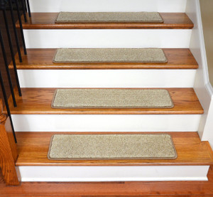 "Dean Ultra Premium Stair Gripper Non-Slip Tape Free Pet Friendly DIY Stainmaster Nylon Carpet Stair Treads/Rugs 30"" x 9"" (15) - Color: Vellum Beige Tweed"