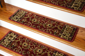 "Dean Non-Slip Tape Free Pet Friendly Stair Gripper Carpet Stair Treads - Classic Keshan Claret Red 31""W (15)"