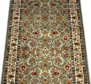 Dean Classic Keshan Sage Green Custom Length Carpet Rug Runner - Purchase by the Linear Foot