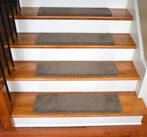 "Dean Ultra Premium Stair Gripper Non-Slip Tape Free Pet Friendly DIY Satin Soft Nylon Carpet Stair Treads/Rugs 30"" x 9"" (15) - Color: Sedona Brown"