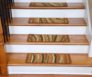 Washable Non-Skid Carpet Stair Treads - Jazzy Terra Cotta (13)