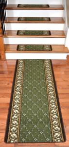 Dean Washable Non-Skid Carpet Stair Treads - Trellis Green (13) PLUS a Matching 5' Runner