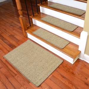 Dean Attachable Non-Skid Sisal Carpet Stair Treads - Desert - Set of 13 Plus a 2' x 3' Mat
