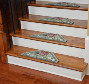 Washable Non-Skid Carpet Stair Treads - Green Fruit (13)