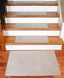 """Dean Serged DIY 27"""" x 9"""" Imperial Carpet Stair Treads (13) with Landing Mat - Color: Light Taupe"""