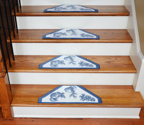 Washable Non Skid Carpet Stair Treads Blue Fruit 13