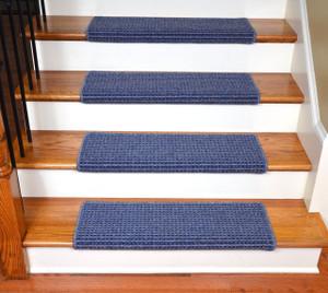 "Dean Modern DIY Peel and Stick Bullnose Wraparound Non-Skid Carpet Stair Treads - Michelle Blue 30""W (15)"