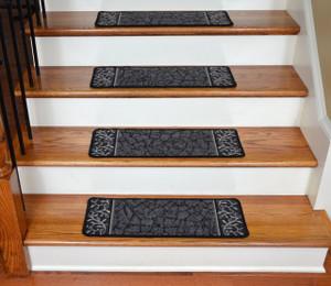 Dean Washable Non-Skid Carpet Stair Treads - Garden Path Black (13)