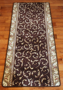 Brown Scrollwork Carpet Rug Hallway Runner 5'