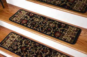 "Dean Non-Slip Tape Free Pet Friendly Stair Gripper Carpet Stair Treads - Classic Keshan Ebony 31""W (15)"