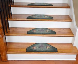 Washable Non-Skid Carpet Stair Treads - Hunter Green Fruit (13)
