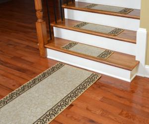 Dean Washable Non-Skid Carpet Stair Treads - Garden Path Beige (13) PLUS a Matching 5' Runner