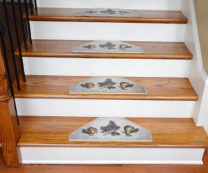 Washable Non-Skid Carpet Stair Treads - Beige Fruit (13)